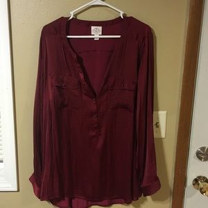 Burgundy satiny top